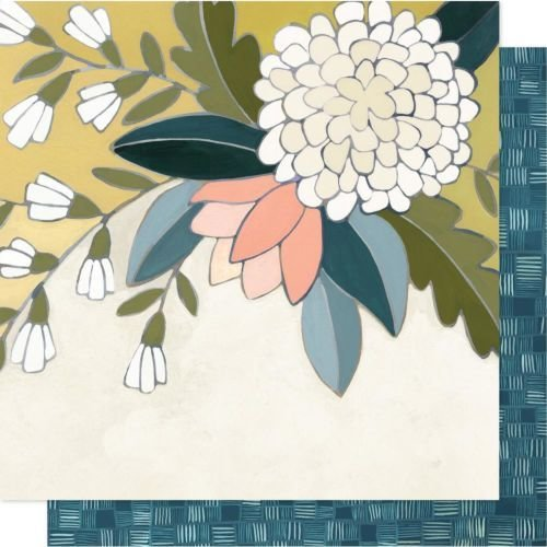 "Papel doble cara 12""x12"" - Goldenrod Floral"