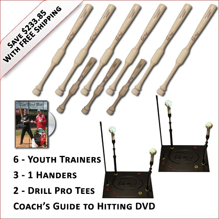 6 Youth Trainers, 3 - 1 Handers, 2 Drill Pro Tees & Coach's Guide to Hitting DVD