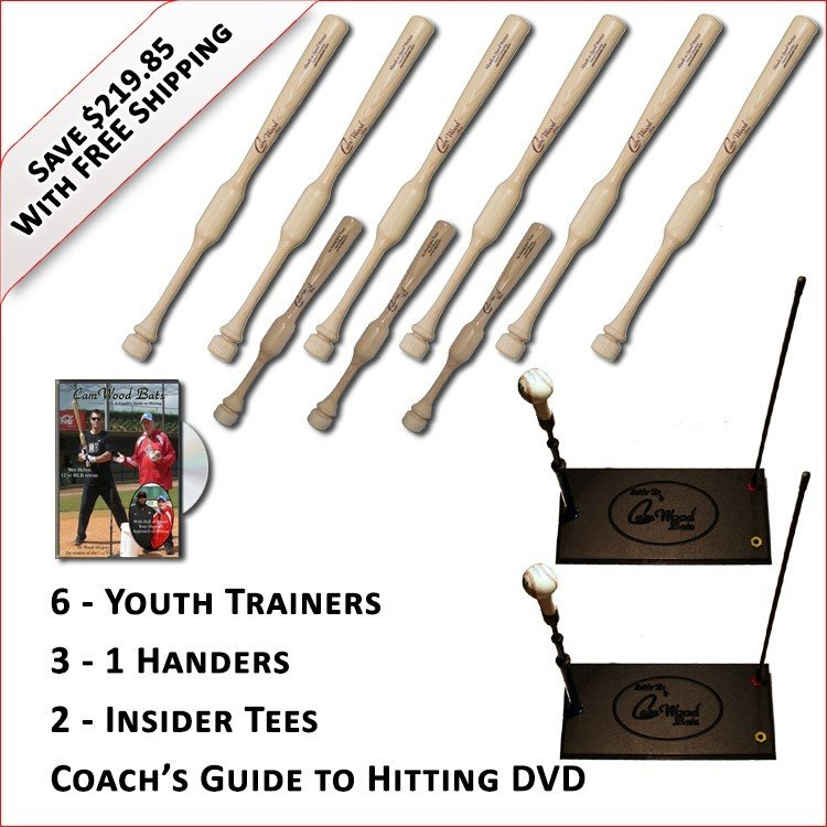 6 Youth Trainers, 3 - 1 Handers, 2 Insider Tees & Coach's Guide to Hitting DVD