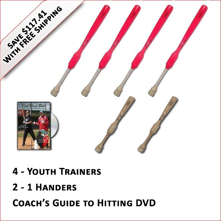 4 Softball Trainers, 2 - 1 Handers, & Coach's Guide to Hitting DVD