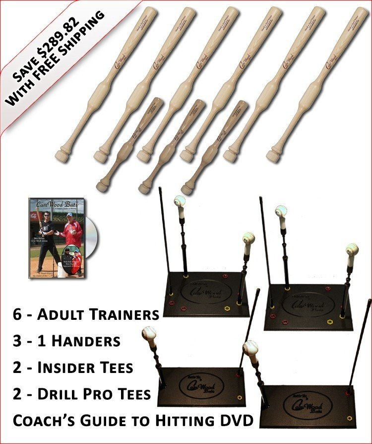 6 Trainers, 3 - 1 Handers, 2-Insider Tees, 2 - Drill Pro Tees & Coach's Guide to Hitting DVD