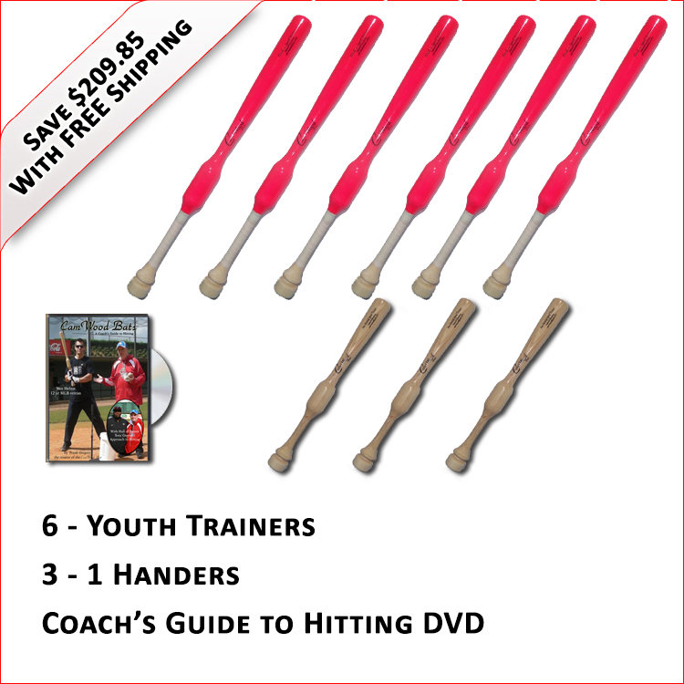 6 Softball Trainers, 3 - 1 Handers, & Coach's Guide to Hitting DVD