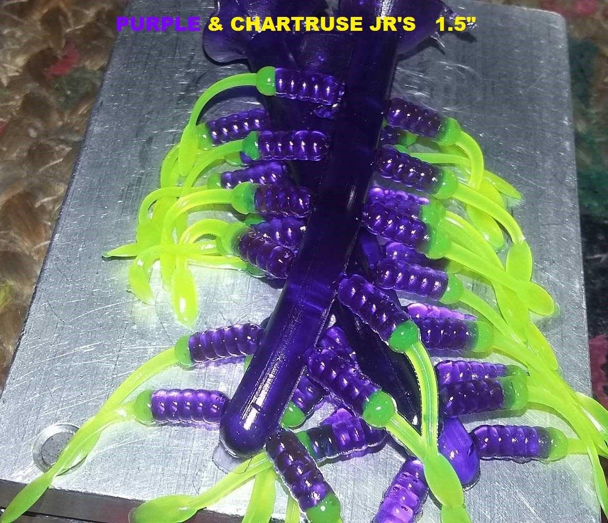 "1.5"" tiny nummies  Purple & Blinding chartruse  12 per pk"