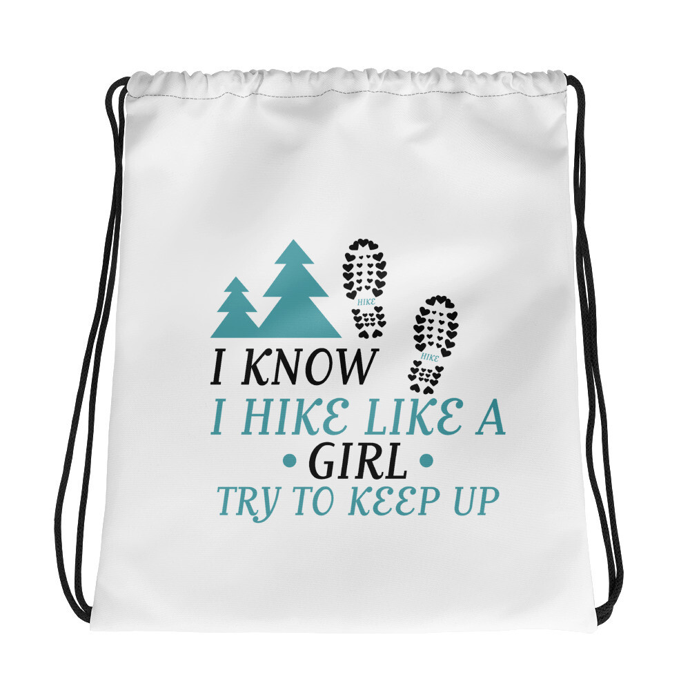 Hike like a girl Drawstring bag