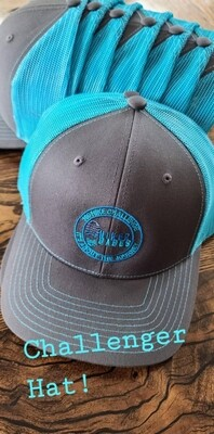Blue/Grey Embroidered Challenger Trucker Hat