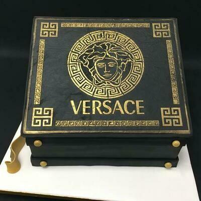 Versace briefcase with banknotes