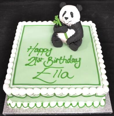 Panda on square cake