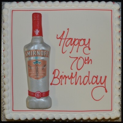 Square cake with Spirit Bottle