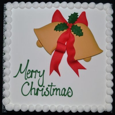 Square Cake with Christmas Bells