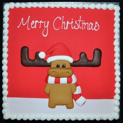 Square Cake with Christmas Moose Scene