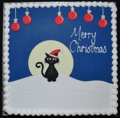 Square with Christmas Cat Scene
