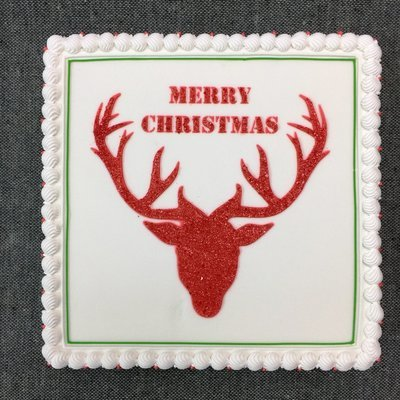 Square Cake with Reindeer Sparkle Silhouette
