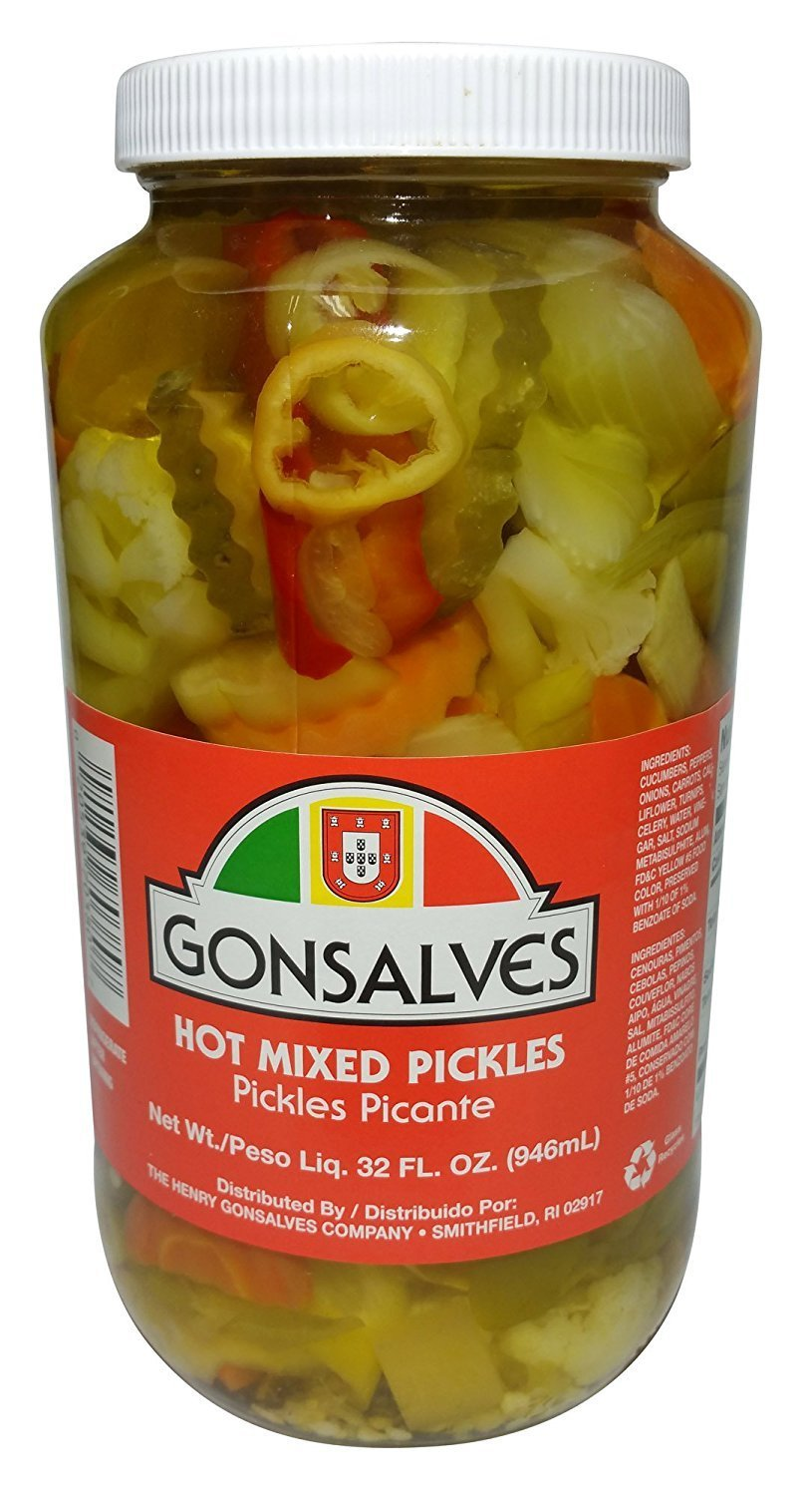Gonsalves, Mixed Pickled Vegetables, 32 Ounce