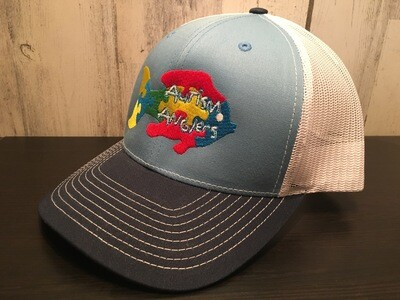 Autism Anglers Snap Back Hat- BLUE/WHITE/NAVY