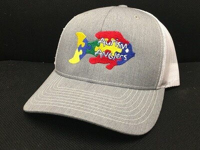 Autism Anglers Snap Back Hat- Grey/White