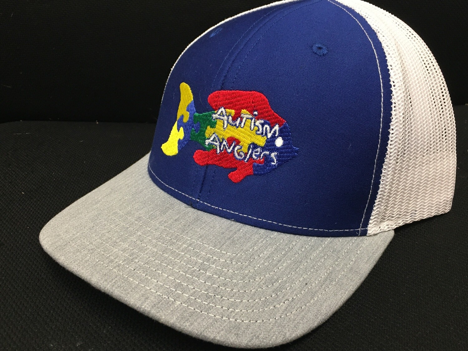 Autism Anglers Snap Back Hat- Navy/Grey/White