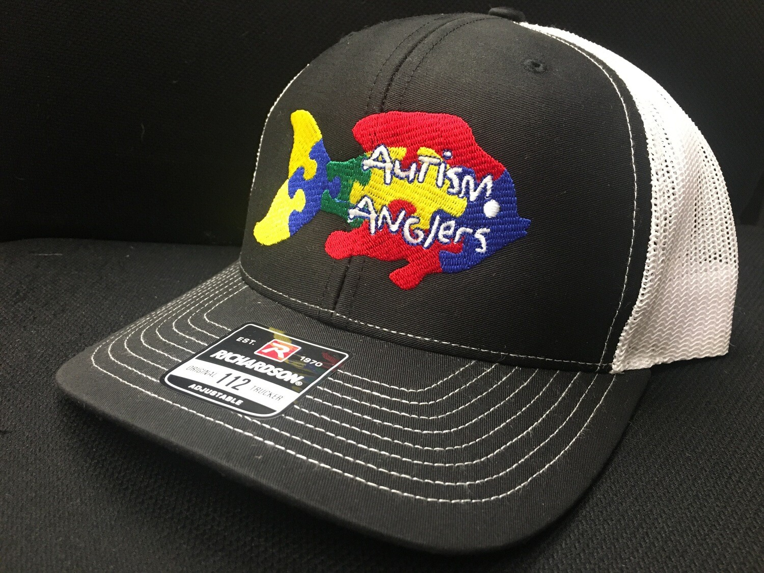 Autism Anglers Snap Back Hat-Black/white