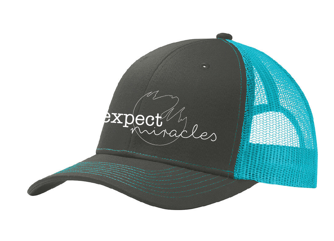 Charcoal/Teal Trucker Hat- Expect Miracles