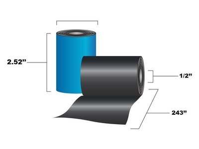 2.52x243 Resin Enhanced Wax Ribbon, Desktop printer (72 Rolls per Case)