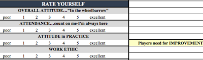 PLAYER SELF-EVALUATION