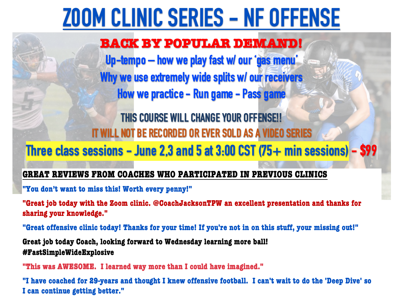 NF OFFENSE - ZOOM CLINIC - JUNE CLASSES