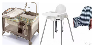 Portable Baby Cot with Linen + High Chair
