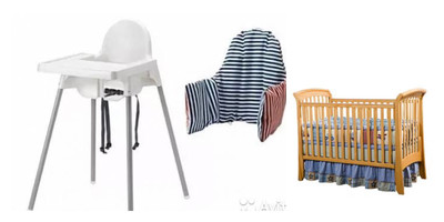 Full Size Crib with Linen and Mosquito Net + High Chair