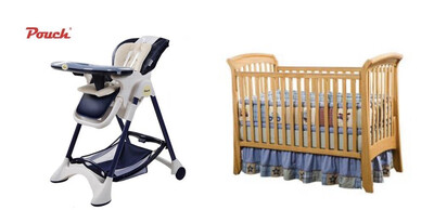 Full Size Baby Crib with Linen and Mosquito Net + Luxury Multifunctional High Chair