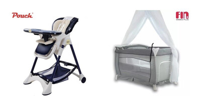 Luxury Portable Baby Cot with Linen & Mosquito Net + Luxury Multifunctional High Chair