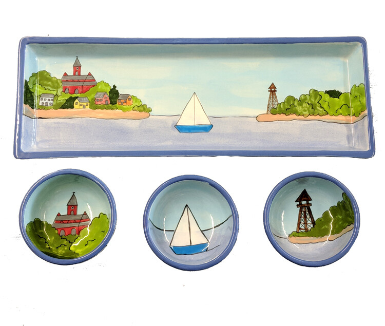 Marblehead Ceramics - Rectangle Garnish Tray with 3 matching bowl Set