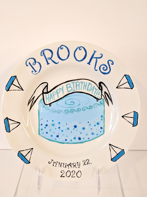 Children's Hand-painted Ceramic Birthday Plate