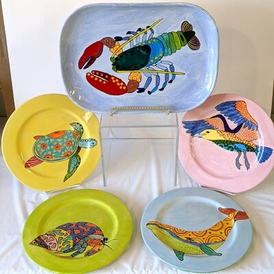 Hand-painted Ceramics Colorful Creatures Plates & Platters