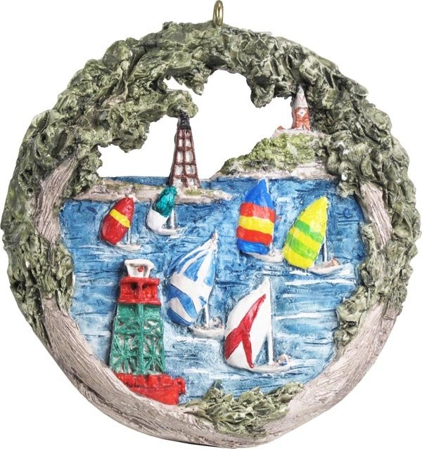 2014 Marblehead Annual Ornament - Sailboat Races off Marblehead Harbor