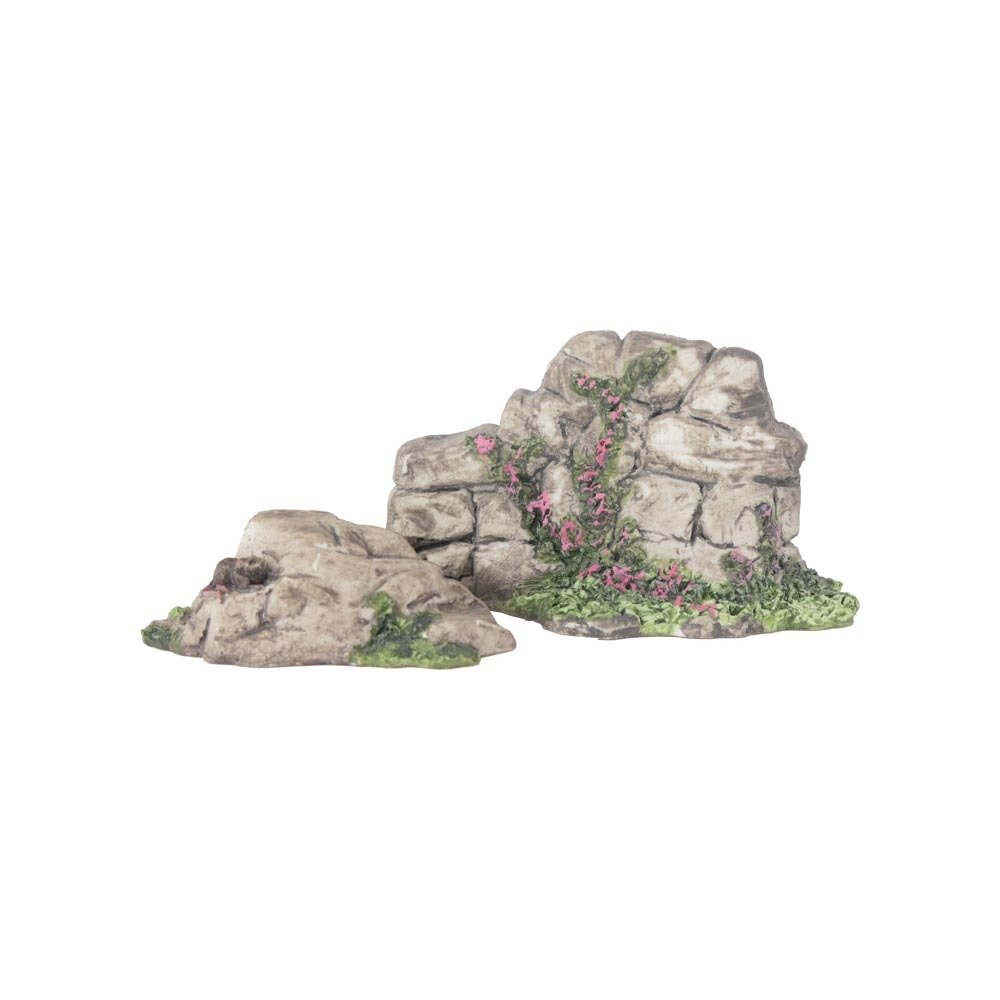 Nativity Accessory - Set of Rocks with Flowers