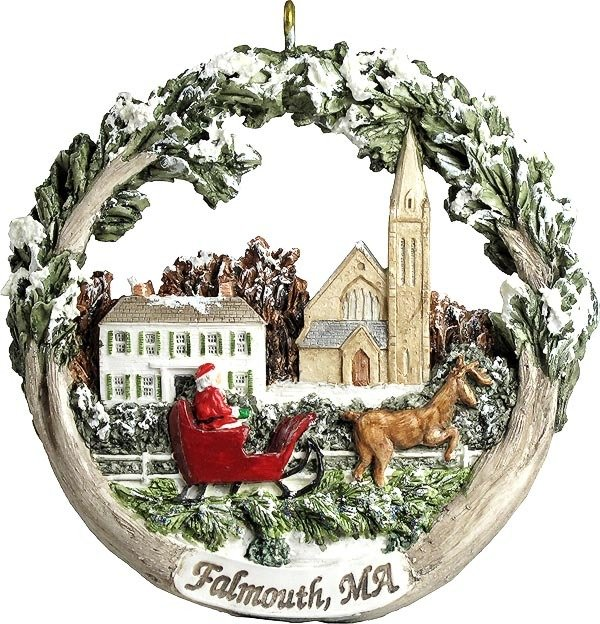 AmeriScape Ornament - Town Green in Winter, Falmouth, MA