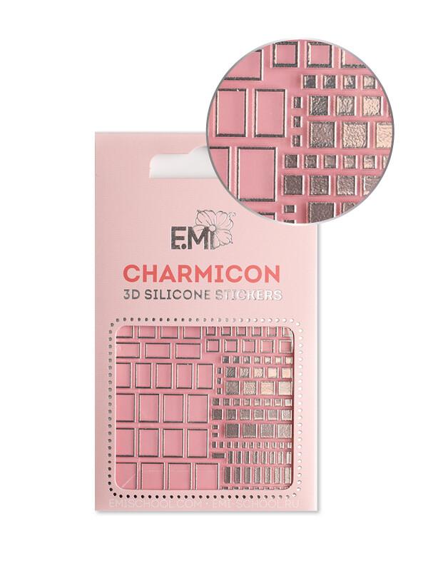 Charmicon 3D Silicone Stickers #159 Squares Silver
