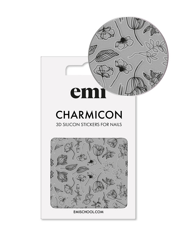 Charmicon 3D Silicone Stickers #176 Black Flowers