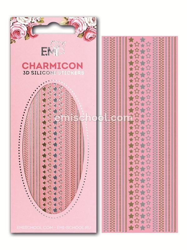Charmicon 3D Silicone Stickers Stars MIX #1 Gold/Silver