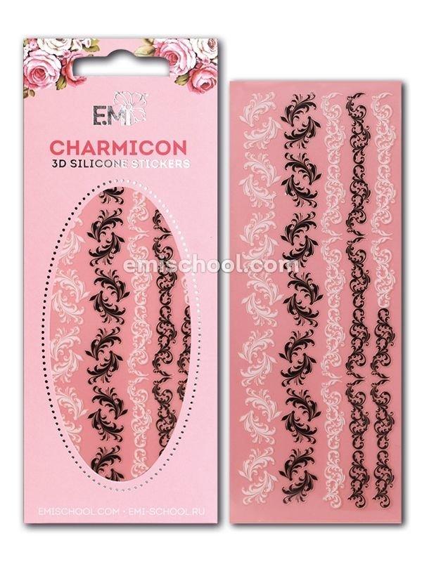 Charmicon 3D Silicone Stickers Swirl #3 Black/White