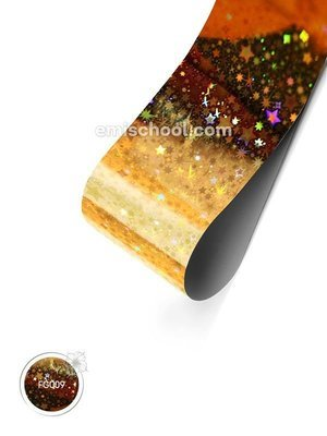Foil holographic gold Stars, 1.5 m.