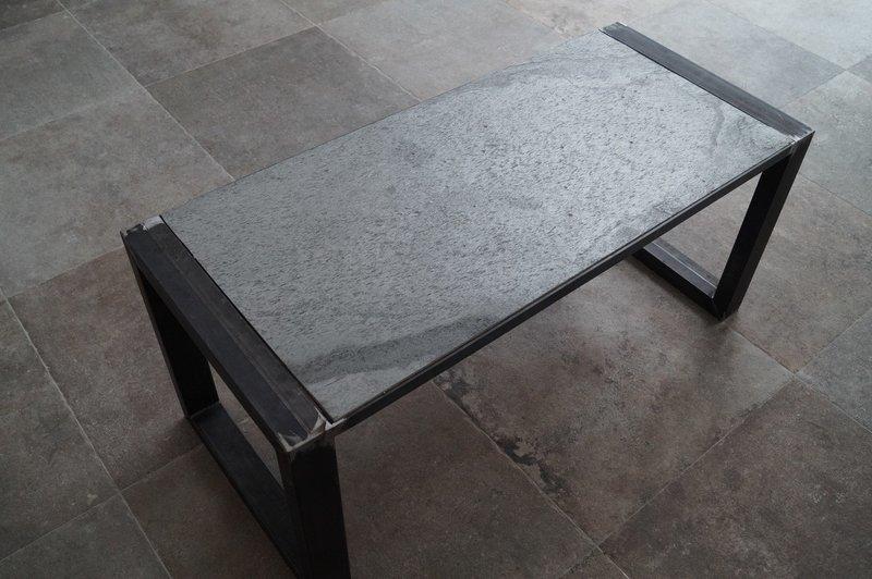 """Couchtisch Schiefer Rahmengestell """"Steel Grey''"""