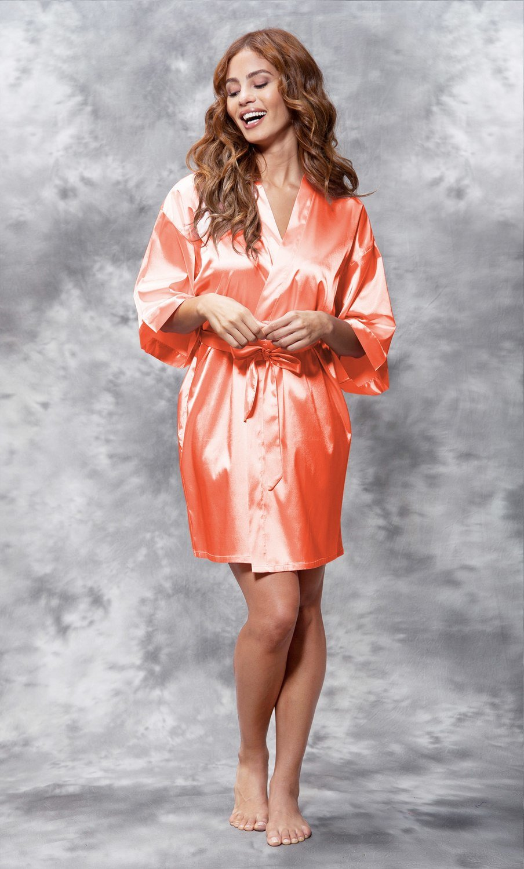 Satin Robe (Coral)
