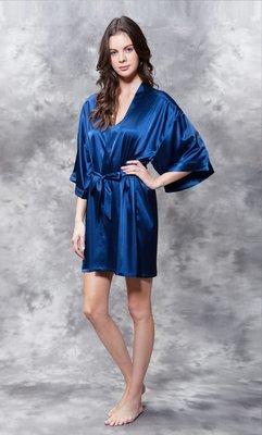 Satin Robe (Navy Blue)