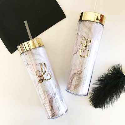Pink and Gold Monogram Marble Tumbler