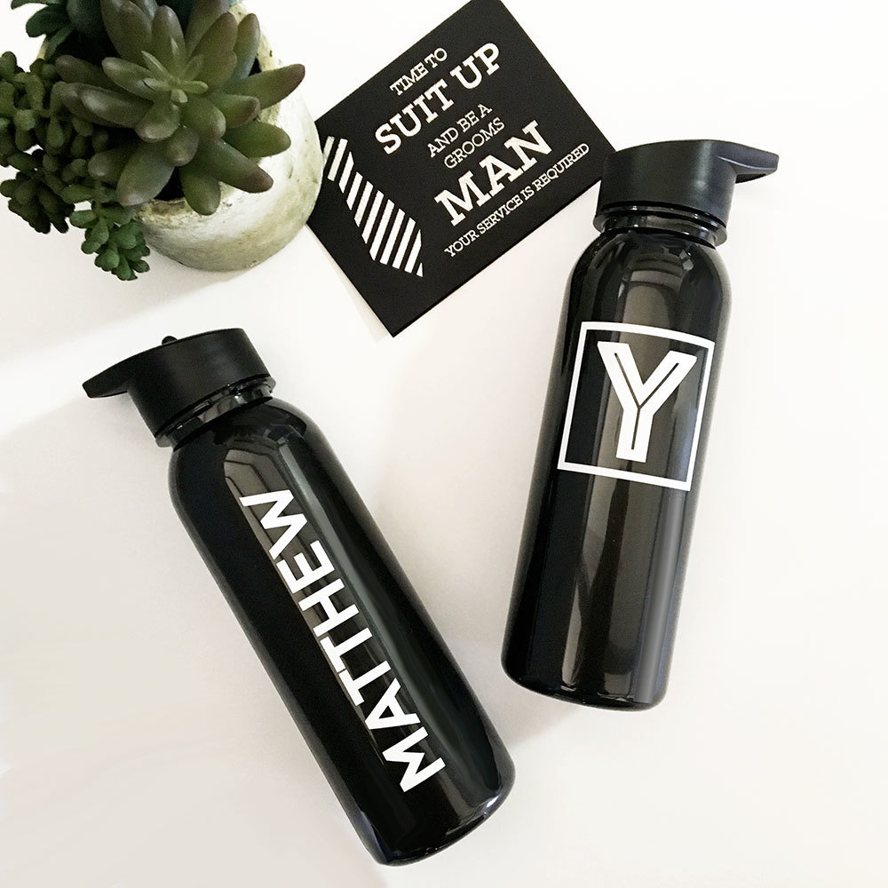 FOR THE GUYS! Black sports bottle with white text or monogram