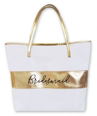 Bridal Party Gold Striped Bag