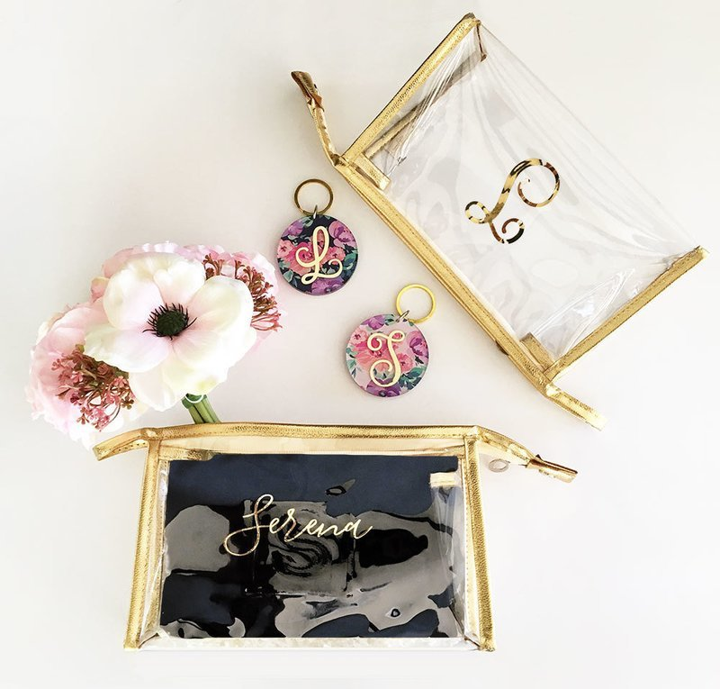 Clear and Gold Personalized Cosmetic Bag
