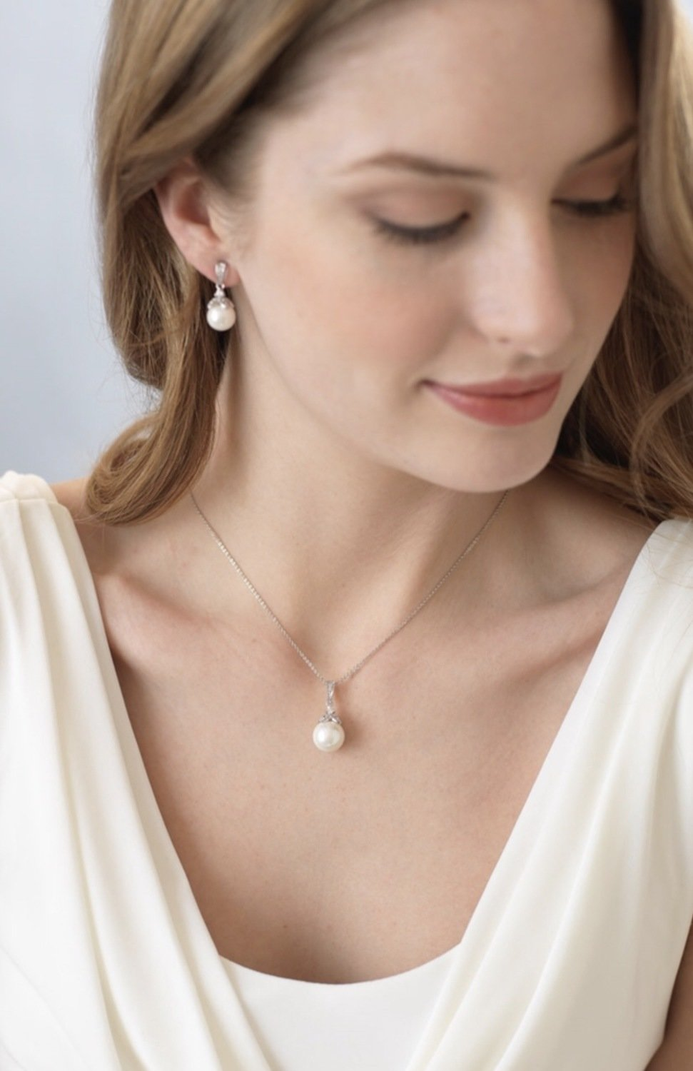 CZ and Pearl Drop Jewelry Set