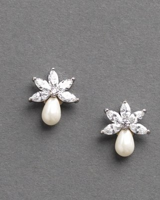 CZ and Freshwater Pearl Stud Earrings