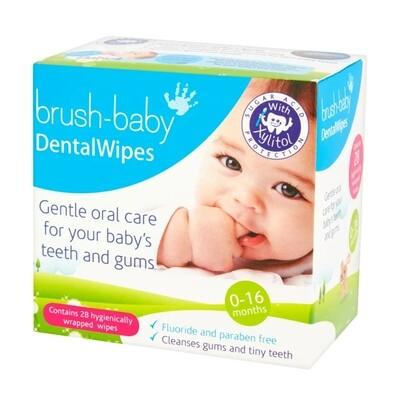 Салфетки для полости рта с ксилитолом Brush Baby (28 шт.) (от 0 лет)